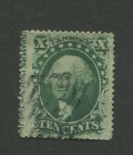 1859 US Stamp #35 10c Type V Used F/VF Grid Postal Canceled