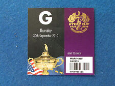 RYDER Cup 2010-CELTIC MANOR-MARSHAL ospite TICKET - 30/9/10