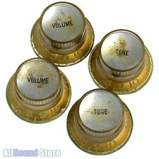 Set of 4 RELIC AGED GOLD Bell REFLECTOR KNOBS for Epiphone® & Import Guitar/Bass