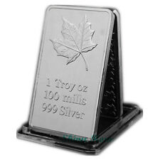 Canadian Maple Leaf Mint 1 Troy Oz .999 Fine Silver 100 Mills Arts Bar Collect