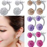 1 Pair Women Lady Jewelry Double Beaded Rhinestone Crystal Stud Earrings