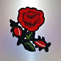 Rose Patch — Iron On Badge Embroidered Motif — Flower Flowers Applique