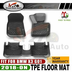 For BMW X3 G01 2018-On 3D TPE Waterproof  Floor Mats Liner Matt Black Set