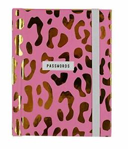 Password Book - Small Pocket Notebook - Pink and Gold Leopard Print Design