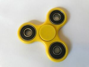 3D Fidget Hand Spinner Yellow Finger EDC Focus Stress Reliever Toys Kids Adults