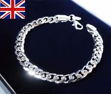 Mens stamped 925 solid sterling silver filled curb chain link 8mm bracelet, GIFT