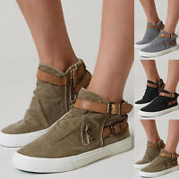 Womens Casual Flats Canvas Trainers Boots Hiking Running Sports Platform Shoes