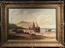 FINE VERY LARGE ANTIQUE (c.1850) SCOTTISH COASTAL MARITIME OIL PAINTING - SIGNED