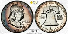 1962-P USA SILVER FRANKLIN HALF DOLLAR PCGS PR66 BU UNC MONSTER COLOR TONED #10