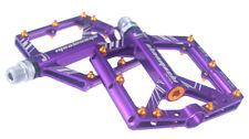 Road MTB XC Bike 4 sealed Bearing Pedals Flat Pedal Purple + gold Aluminum studs