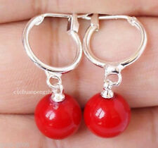 Beautiful 10mm Coral Red South Sea Shell Pearl Round Beads Leverback Earrings