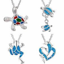 1PC Silver Filled Blue Sea Turtle Necklace Pendant Women Lady Charm Jewelry Gift