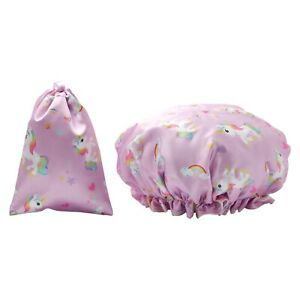Dilly's Collections Shower Cap / Matching Satin Bag Hair Care Unicorn Design