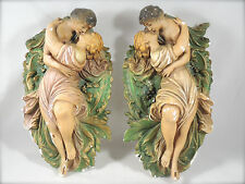 2 VINTAGE PLASTER CHALKWARE BAS RELIEF ROMAN GREEK LOVERS EMBRACE PLAQUE PAINTED