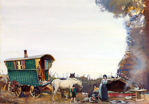 The Gypsy Camp Traveler Horse - English Painting Munnings Art Canvas Print A3