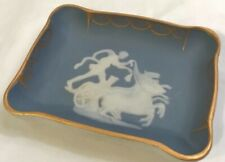 Theraud Limoge Blue Trinket Pin Dish Trimmed in Gold, Mythology Horse & Chariot