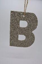 "Pottery Barn German Glitter Sparkle Alphabet Letter "" B "" Christmas Ornament"