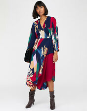 New MONSOON Nalani Navy Red Printed High Low Midi Wrap Dress Size 18 £70