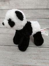 "Aurora Panda Bear Plush 8"" Black White Cute Stuffed Animal Lovey Doll Super Soft"