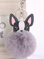 French Bulldog Dog Keyring faux pompom handbag keys jewellery Purse gift present