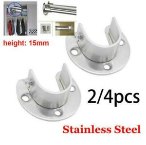 2PCS 25/35MM Adjustable Round Wardrobe Hanging Rail Rod End Bracket Support Tone