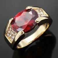 Jewelry Band Red Garnet Fashion 10KT Gold Filled Mens Anniversary Ring Size 8-11