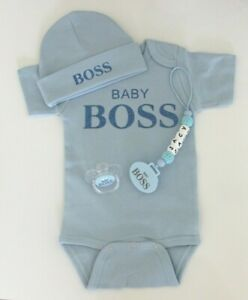 PERSONALISED BABY BOSS 4 PIECE SET, PERSONALISED DUMMY CLIP, PERSONALISED GIFT