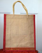 Natural Eco Friendly Jute Burlap Bag Brocade Lace Cotton Webbed Handles