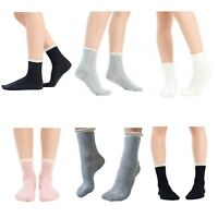 Ladies Lace Trim Embroidered Ankle Socks 1 or 3 Pairs Available in Unicolours