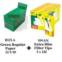 600 X Rizla Grün Regulär Roll Papiere & Swan Extra Slim Filterspitzen Rauchen