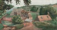ENGLISH VILLAGE LANDSCAPE Antique Watercolour Painting c1930