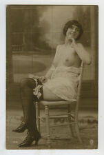 1910s French Part Nude SEATED LINGERIE LADY risque sexy photo postcard