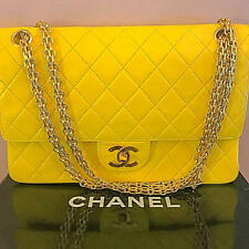CHANEL Matorasse Quilted CC W Double Flap Chain Shoulder Bag Yellow Vintage Rare