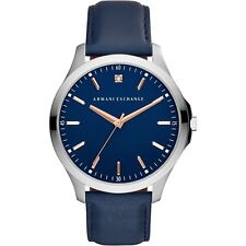 Armani Exchange Men's Blue Leather Strap Watch 46mm Watch AX2406 NEW!