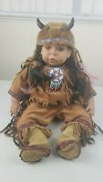 Native American Indian Little Girl/toddler Porcelain/Ceramic Doll 15in