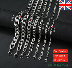 """Mens Boys Curb Chain 3MM - 9MM Stainless Steel Silver Cuban Necklace Men 18""""-26"""""""