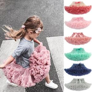Kids Baby Girls Fluffy Tutu Princess Skirt Dancewear Fancy Costume Multi Colours