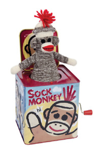 SOCK MONKEY JACK IN THE BOX - SMJB CLASSIC TIN TOY MUSICAL CIRCUS STYLE APE