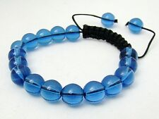 Shamballa bracelet  all 10mm  Blue GLASS beads
