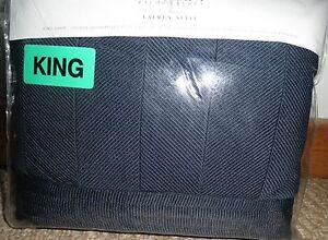 Ralph Lauren Suite Navy Herringbone King quilted sham 100% cotton