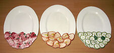 Vintage Set Of 3 Oval Plates Peppers Cucumbers Radishes Sigma Crudite Italy