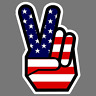 Peace Sign Hand American Flag Symbol Car Window Decal Laptop Vinyl Sticker USA