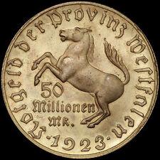 """NOTGELD: 50 Millionen Mark 1923 - """"FREIHERR VOM STEIN"""". Jaeger N23a. WESTFALEN."""