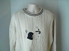 ST. Johns Bay Vintage Mens LT/GL Sweater Hunting Dog Duck USA