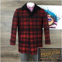 Vintage Pendleton Mens Wool Buffalo Tartan Coat Sherpa Collar Red Black L