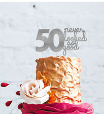 50th Birthday Cake Topper - 50 never looked so good - Glittery Silver