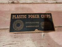 Vintage Plastic Poker Chips Unbreakable/Interlocking With Original Box