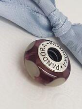 Authentic Pandora 790659 Violet Love Grey Hearts Murano Glass Bead Charm