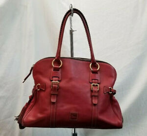 Dooney & Bourke Large Red Leather Satchel Handbag