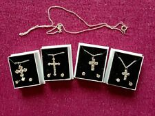 JOBLOT-4 sets of crystal diamante cross +0.4cm earrings+46cm chain.Gift boxed.